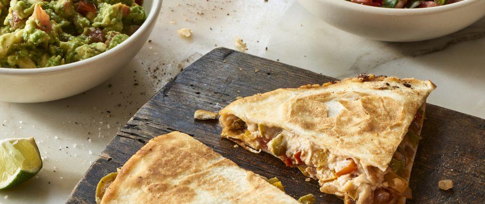 Massel Vegan fajita quesadilla recipe by The Blender Girl, Tess Masters