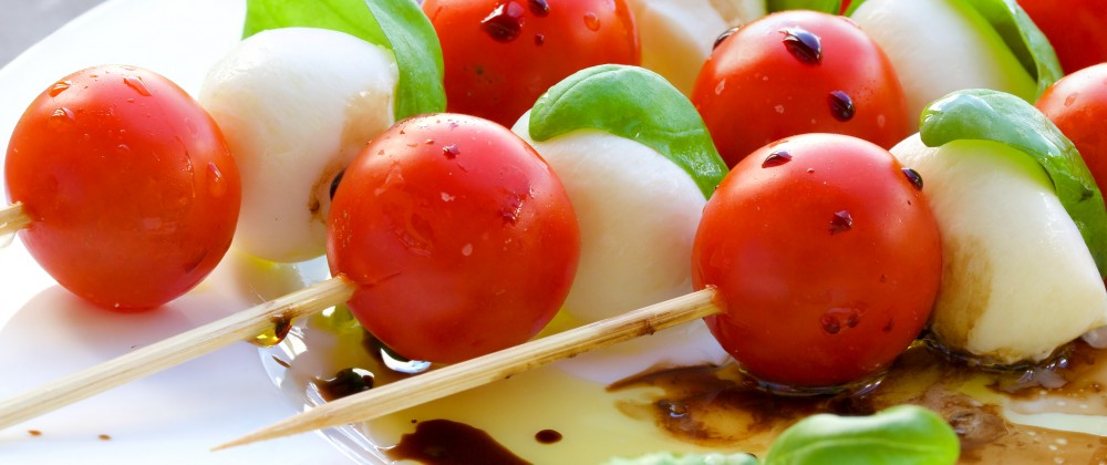 caprese cherry tomato and bocconcini kabob