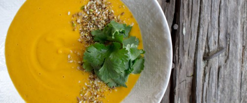 reamy roasted carrot soup with citrus and dukkah