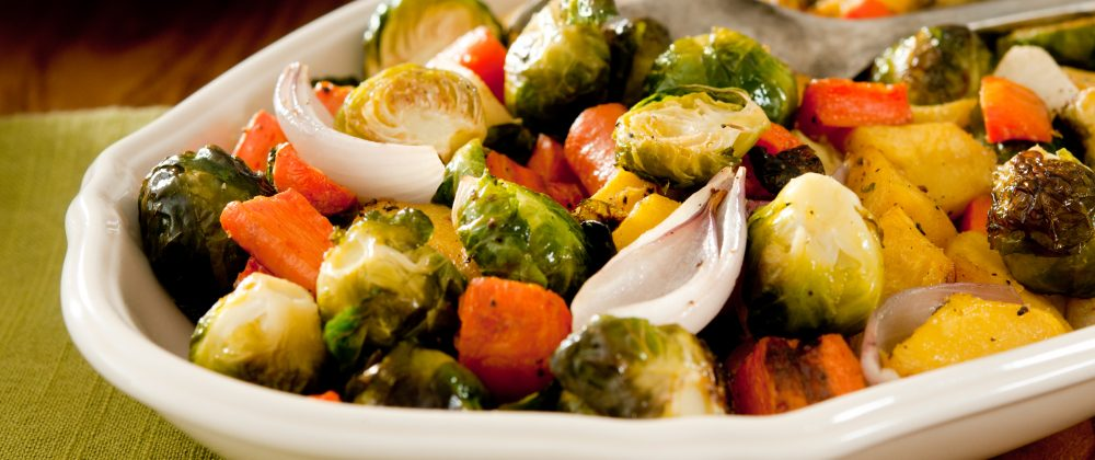Roasted brussel sprouts with carrots