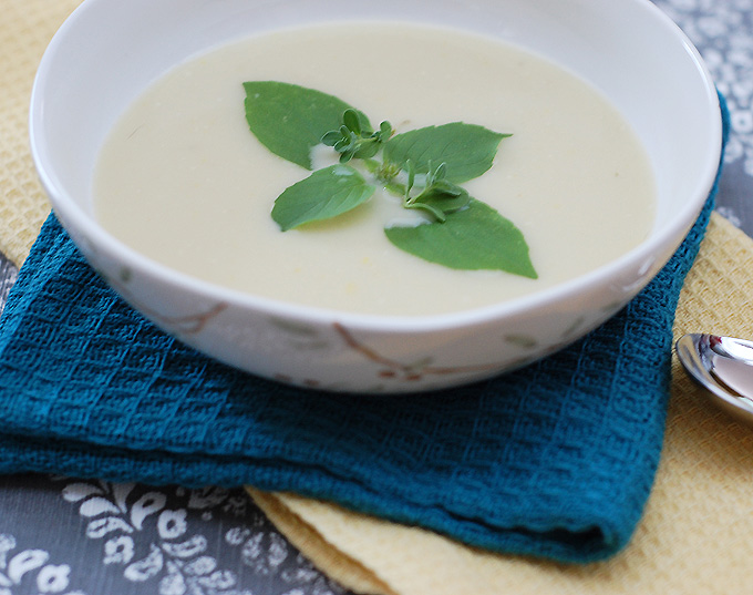 Kathy Hester's Chilled Summer Squash Soup made with Massel gluten-free bouillon. Image from Kathy's blog www.healthyslowcooking.com