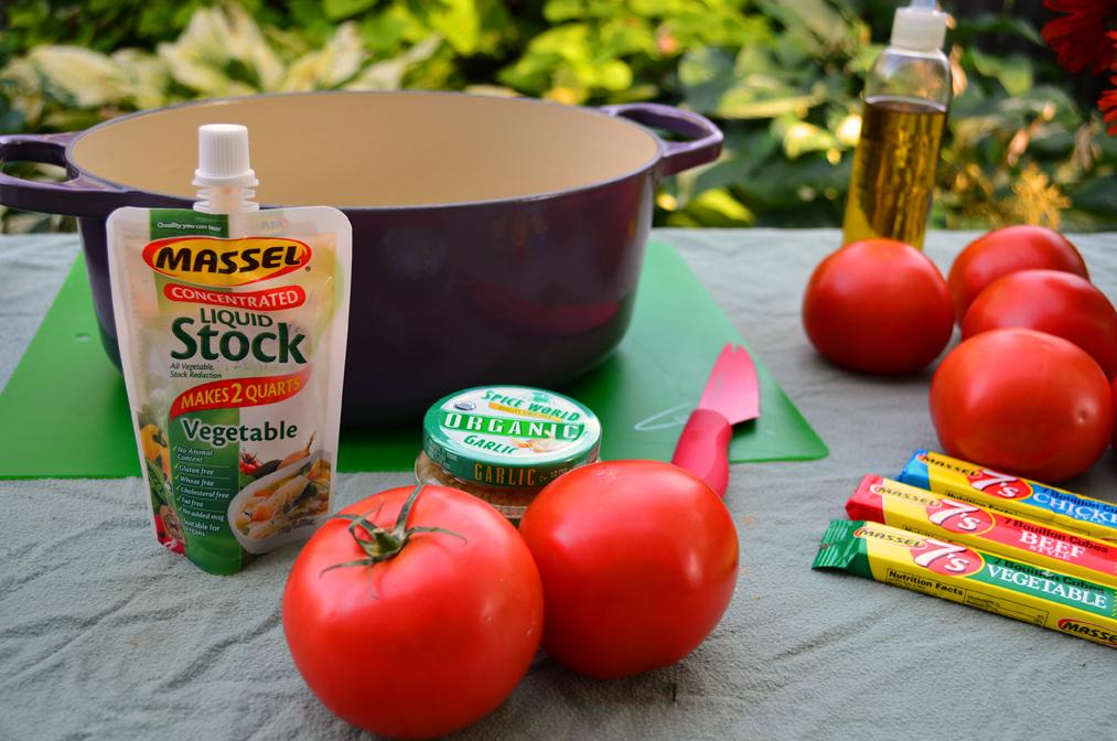 Ingredients for a vegan recipe by Shawna Coronado made with Massel vegan bouillon