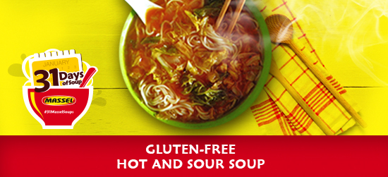 Gluten-free Hot and Sour Soup made with Massel gluten-free bouillon