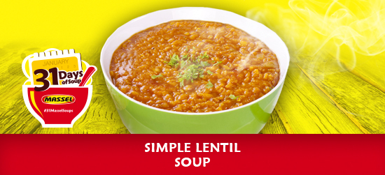 Simple Lentil Soup made with Massel gluten-free bouillon