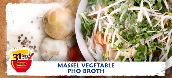 Vegetable Pho broth recipe using Massel Bouillon.