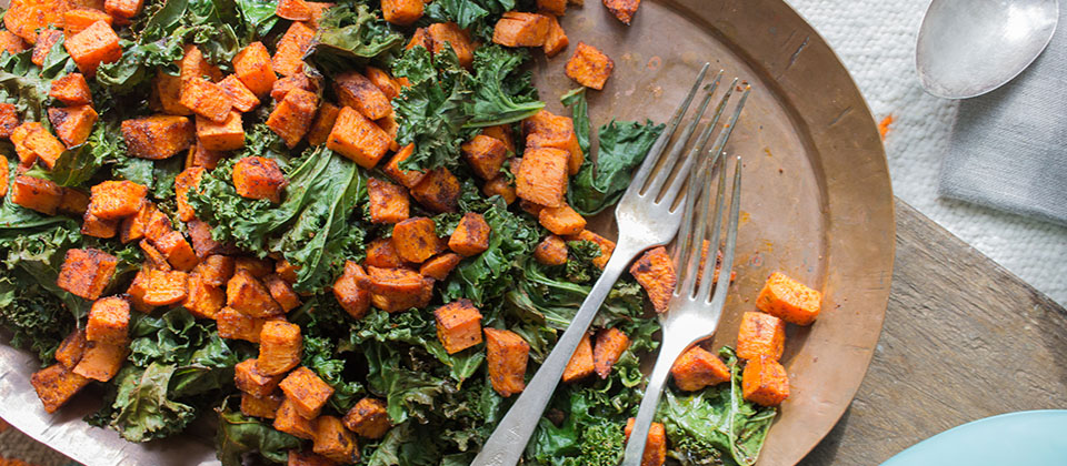 Kale and Sweet potato and creamy polenta