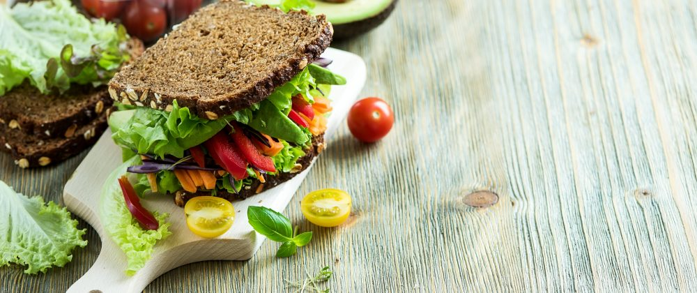 vegan sandwich made with rye bread and healthy ingredients