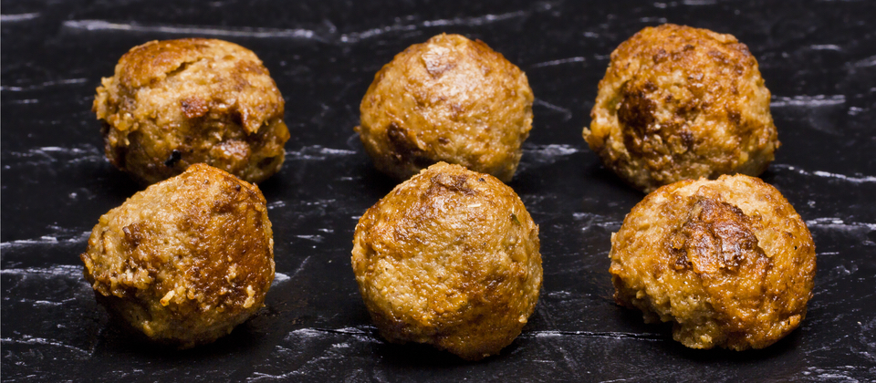 Cooked Vegan Meatballs with Tofu and Seitan