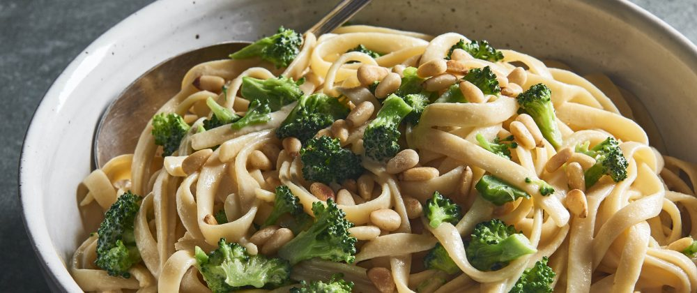 Roasted Garlic Pasta with Broccoli & Pine Nuts