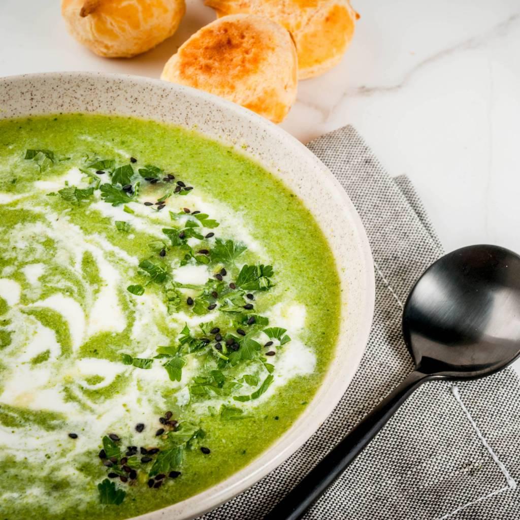 Stress-free vegan creme of broccoli soup.