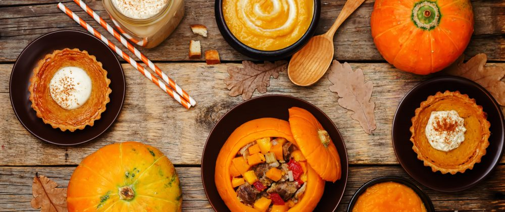 A variety of pumpkin dishes.