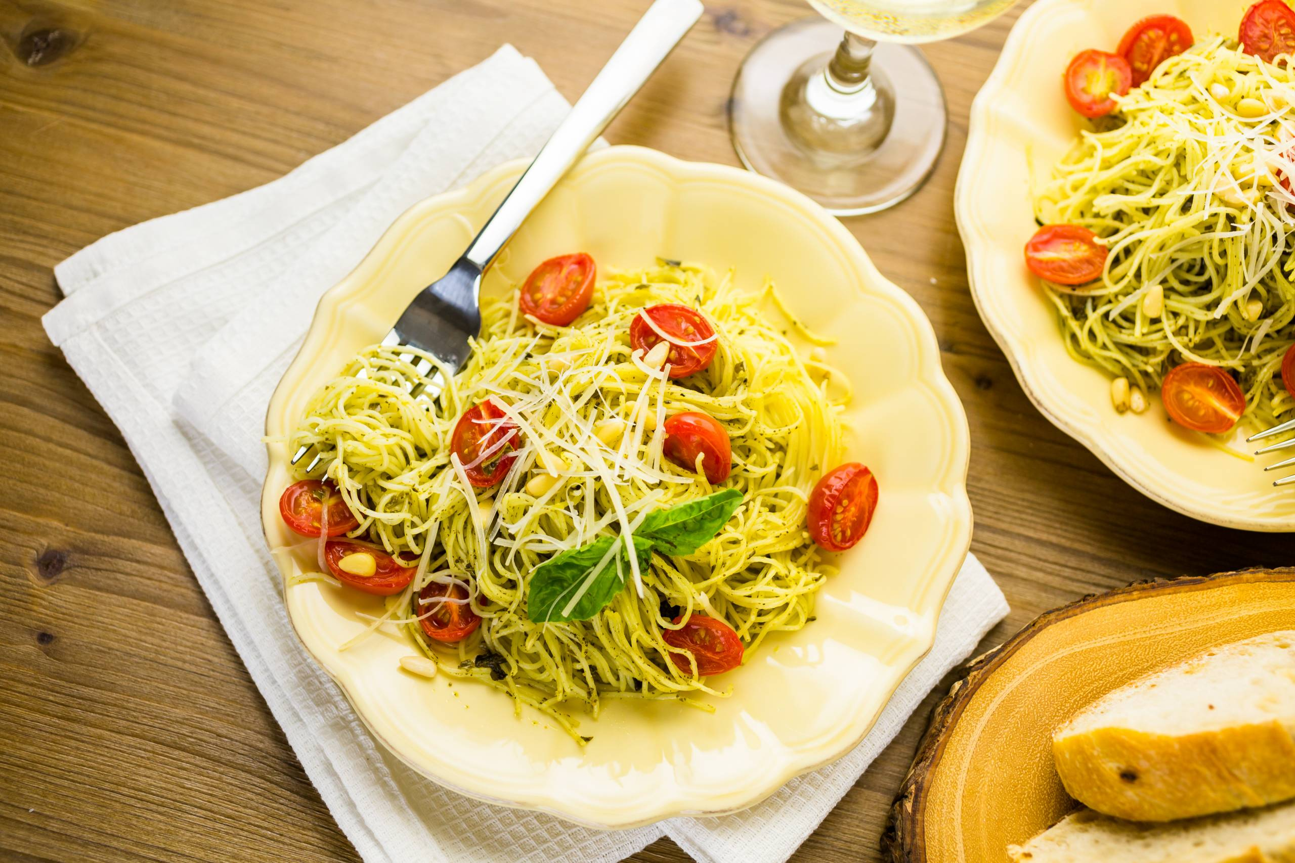 Family friendly meal of angel hair artichoke pasta
